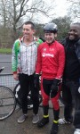 Idai with cyclists Steve Abraham (C) and Chris Hopkinson (L)
