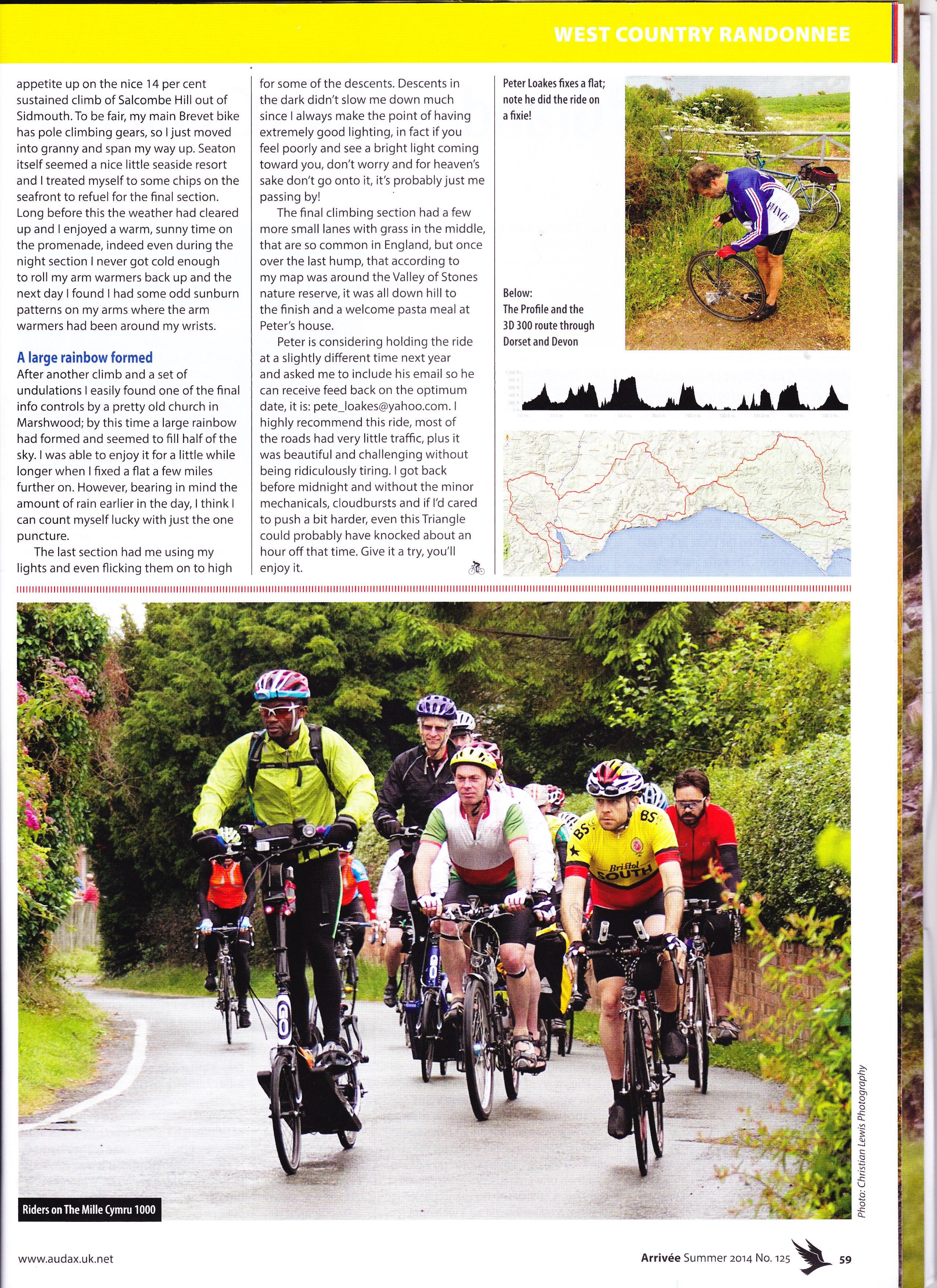 Riding in the Mille Cymru 1,000km Audax (27 June 2014)
