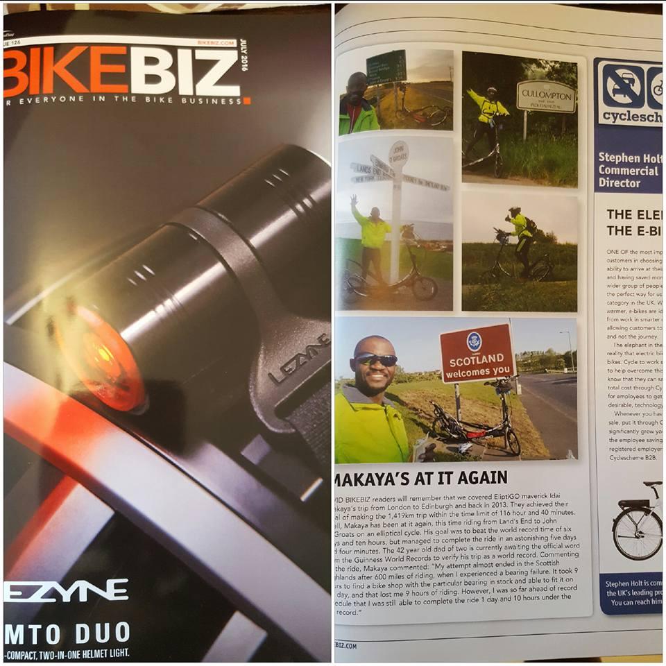 BikeBiz July 2016 LEJOG Article