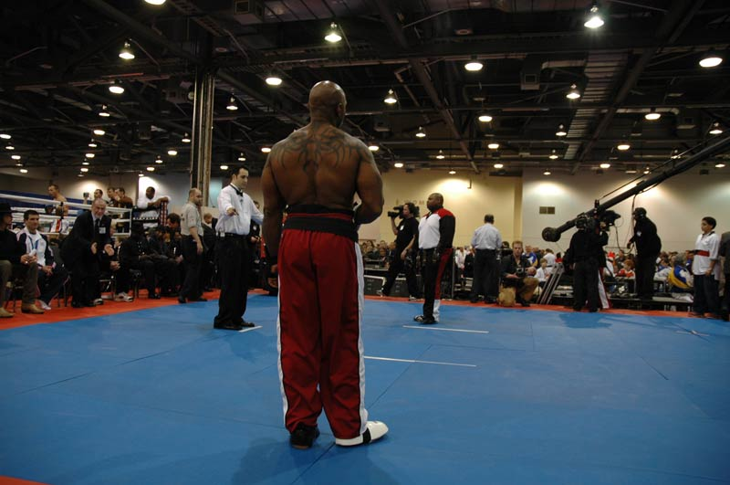 Flex Wheeler - ready to fight at the Arnold Classic Martial Arts Festival.