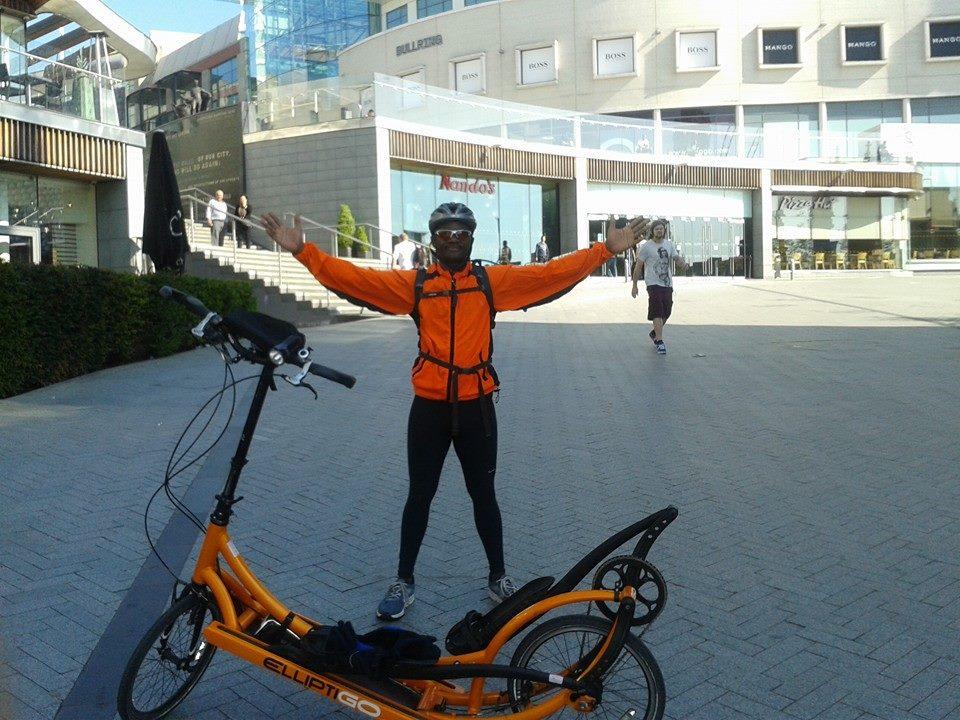 Birmingham City Centre during 138-mile training ride.