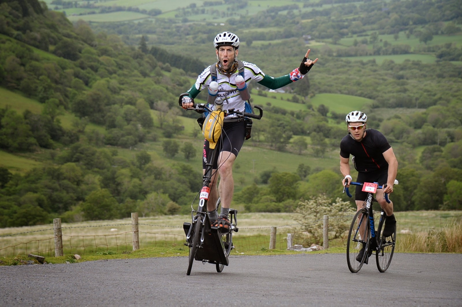 Stu taking on the Devil's Staircase Climb in the 2014 Wiggle Dragon Ride.