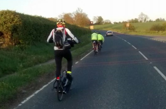Andrew Nuttal riding in the Moors And Wolds 400km Audax (photo by Tim Decker).
