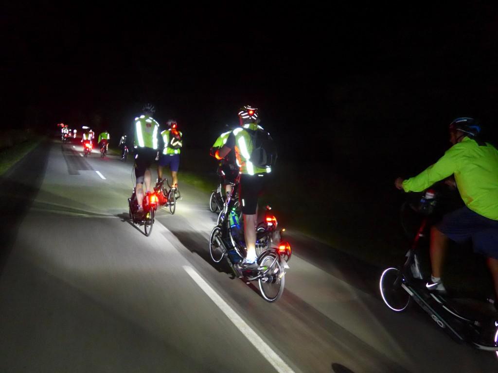 The ElliptiGO Team In Full Flight on the first night of PBP 2015 [Image by Tim Decker]