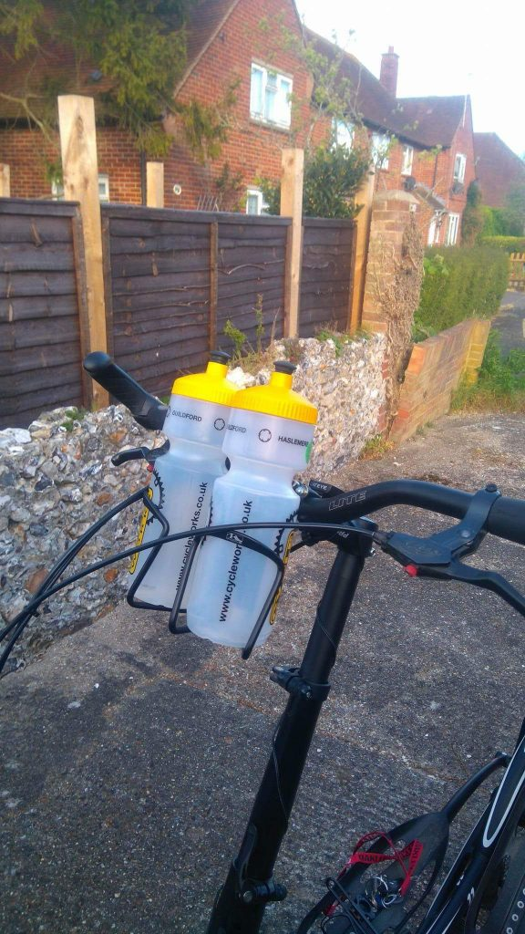 This is Mike's ElliptiGO Bottle holder setup...