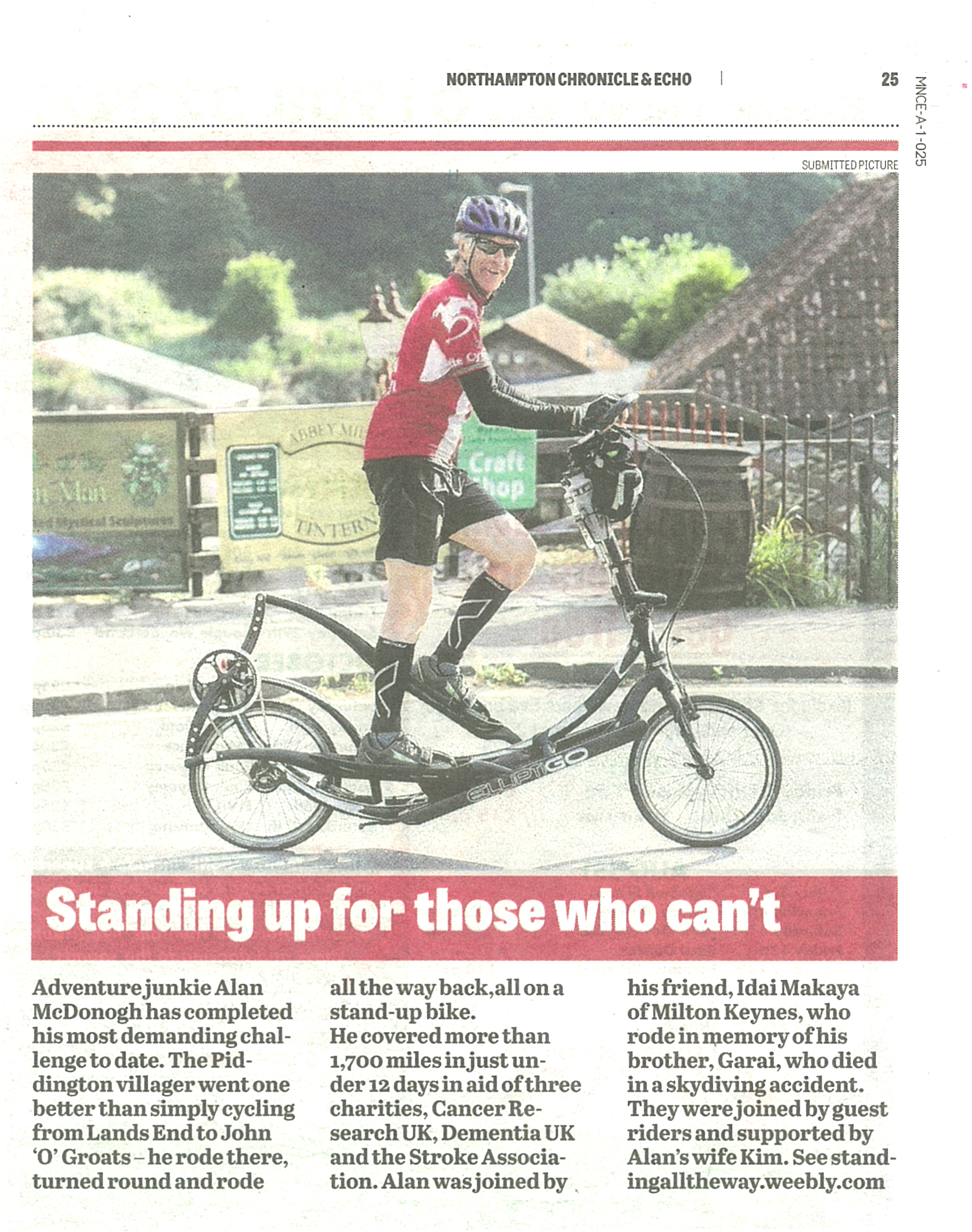 Northampton Chronicle & Echo LEJOG-JOGLE 19 July 2018 Article.